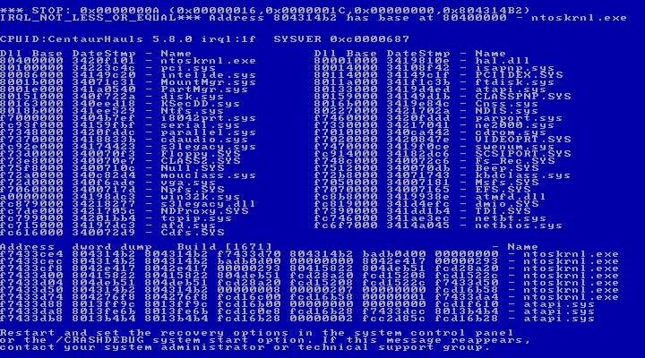 Windows NT5 BSOD
