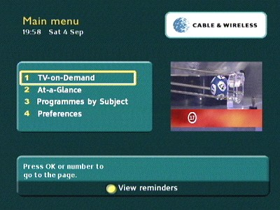 Cable & Wireless EPG Guide